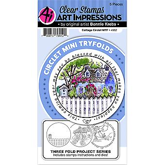 Art Impressions Circlet Mini TryFolds Stamp & Die Set-Cottage 4982