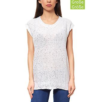 vivance collection sequined T-Shirt ladies plus size White