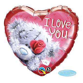 Foil balloon heart Red I Love you Teddy Rose love wedding about 45 cm