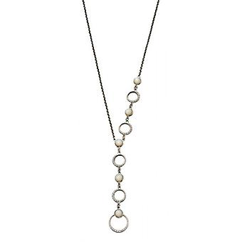 Elements Silver Asymmetric Mother of Pearl Necklace - Silver/White/Clear