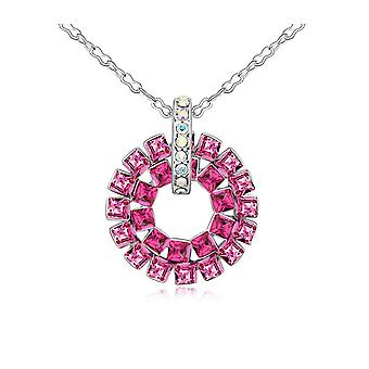 Pendant circle Crystal Swarovski Elements Rose and white gold plate