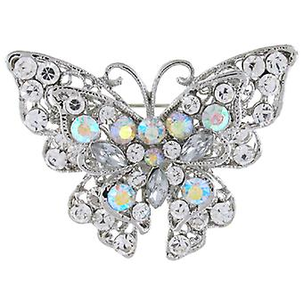 Brooches Store Antique Silver AB  and  Crystal Butterfly Brooch