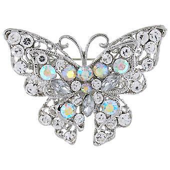 Brosjer Store Antikk sølv AB og Crystal Butterfly brosje