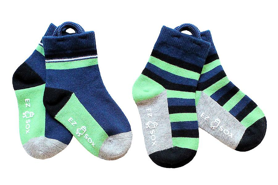 Boys Solids & Stripes EZ SOX Socks - 2 Pairs, 2 - 3 Years