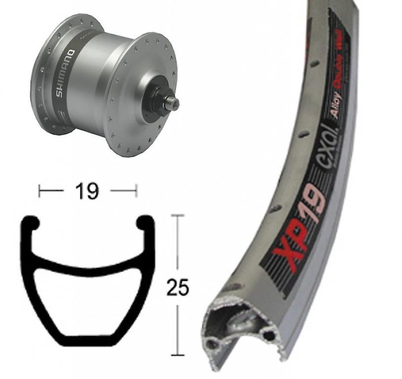 Roue de vélo pièces 28″ Exal 19 XP + moyeu Dynamo Shihommeo DH-C3003 (QR)