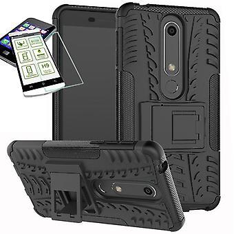 Für Nokia 6 5.5 2018 Hybrid Case 2teilig Schwarz + Hartglas Tasche Hülle Cover Hülle Neu