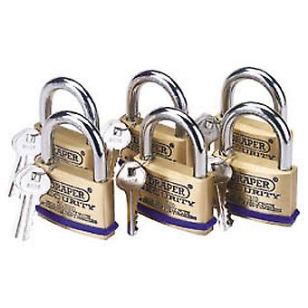 Draper 67663 Pack Of 6 x 60mm Solid Brass Padlocks With Hardened Steel Shackle