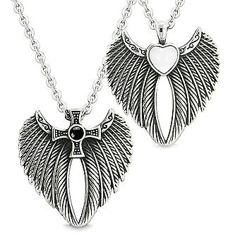 Angel Wings Heart Cross Love Couple or Best Friends Simulated Onyx Simulated Cats Eye Necklaces
