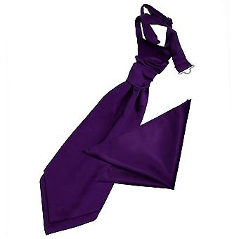 Purple Plain Satin Wedding Cravat & Pocket Square Set for Boys