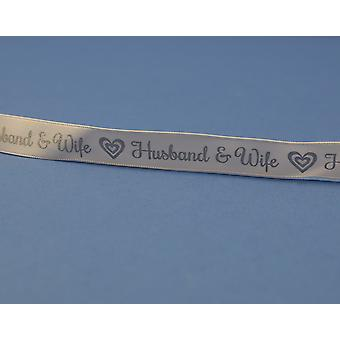 15mm White Husband & Wife Silver Printed Ribbon - 20m