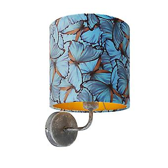QAZQA Vintage Wall Lamp Antique Grey with Shade 20/20/20 Velvet Butterfly with Gold