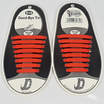 Trendy shoelace which do not need to be tied 8 pair, Red