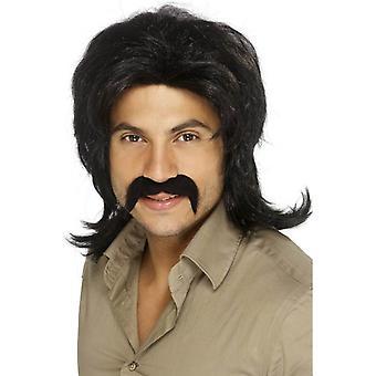 Negro largo ondulado peluca, década de los setenta tipo peluca, accesorio de disfraces años 70