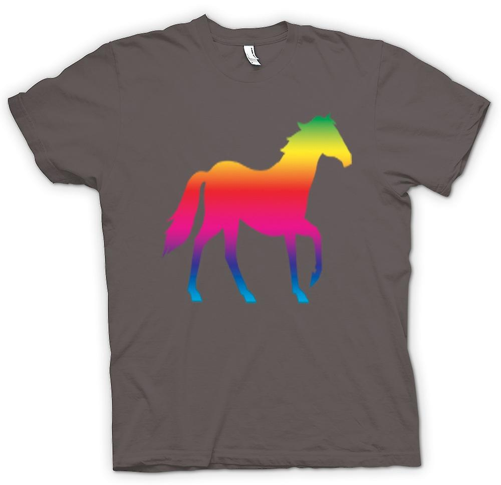 Womens T-shirt - Rainbow Design Horse Canter Psychedelic