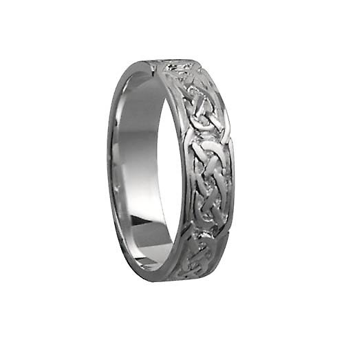9ct White Gold 6mm Celtic Wedding Ring Size Z