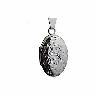 Silber 22x15mm Hand graviert ovalen Medaillon