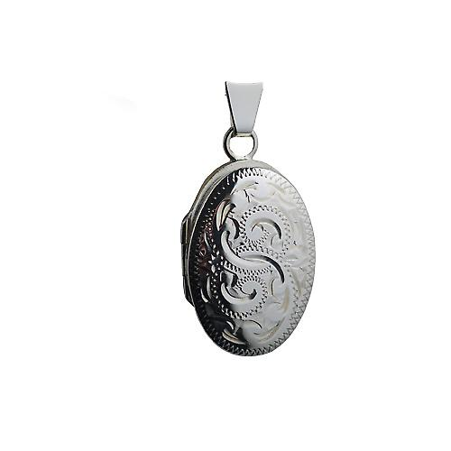 Silver 22x15mm hand engraved oval Locket