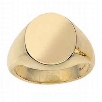 9ct Gold 16x14mm solide schlicht ovalen Siegelring Größe R