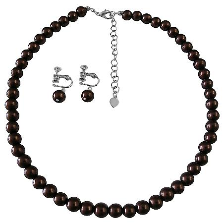 Prom Wedding Gifts Burnt Brown Pearls Necklace Clip On Earrings Set