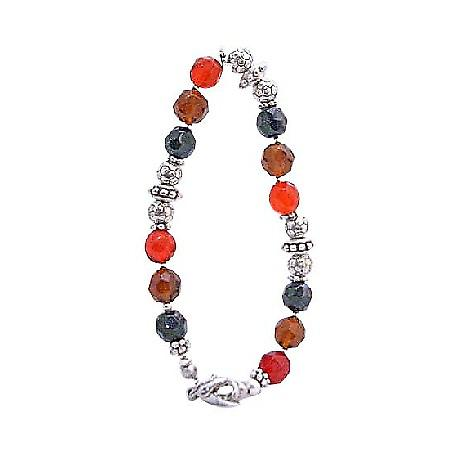 Glass Beads Red Onyx Topaz Brown Bracelet w/ Flat Silver Daisy Spacer