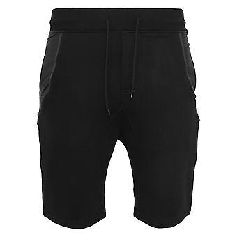Urban Classics Herren Sweatshorts Side-Zip Leather Imitation