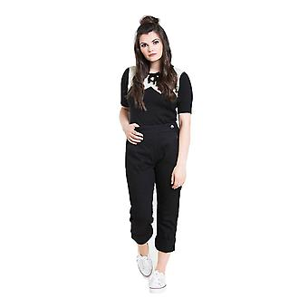 Hell Bunny Black Charlie Denim Capris Trousers XS