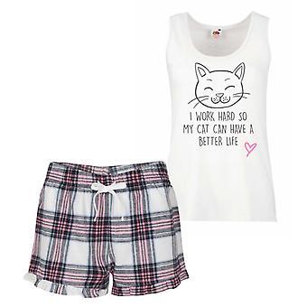 I Work Hard So My Cat Can Have A Better Life Pink Tartan Pyjamas
