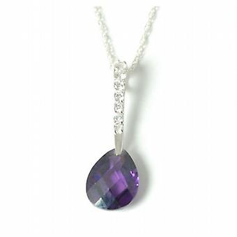 The Olivia Collection Sterling Silver Amethyst and Cz Pear Shape Pendant
