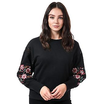 Womens Only Lisa Embroidered Crew Neck Sweatshirt In Black