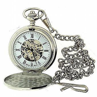 Boxx Mens Roman Numerals Silver Tone Skeleton Mechanical Pocket Watch 12