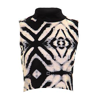 New Ladies Sleeveless Tie Dye Aztec Print Cropped Women's Top