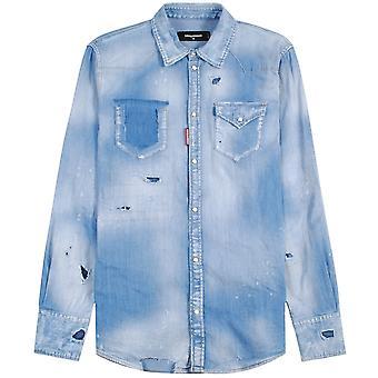 Dsquared2 Distressed Denim Shirt Blue