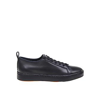 Santoni Blue Leather Sneakers