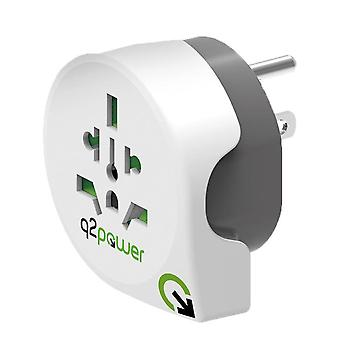 Q2 Travel Adapter World-to-USA Earthed Plug Socket Converter for Europe/UK/CH/AUS/NZ to USA (1.100140)