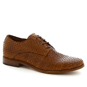 Leonardo Shoes Women's handmade lace ups shoes in tan woven calf leather