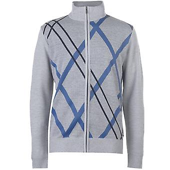 Pierre Cardin Mens Full zip Argyle Maglia A maniche lunghe Cardigan Gillet Top