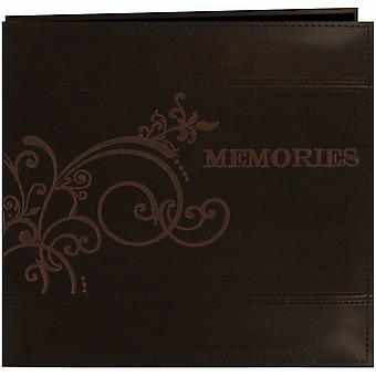 Embroidered Scroll Leatherette Postbound Scrapbook Album 12