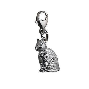 Silver 5x15mm hollow sitting Cat Charm on a lobster trigger