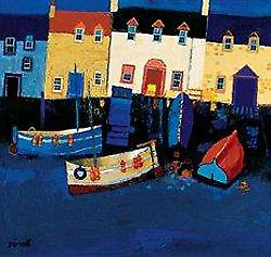 George Birrell print - Boats at Tarry Wall