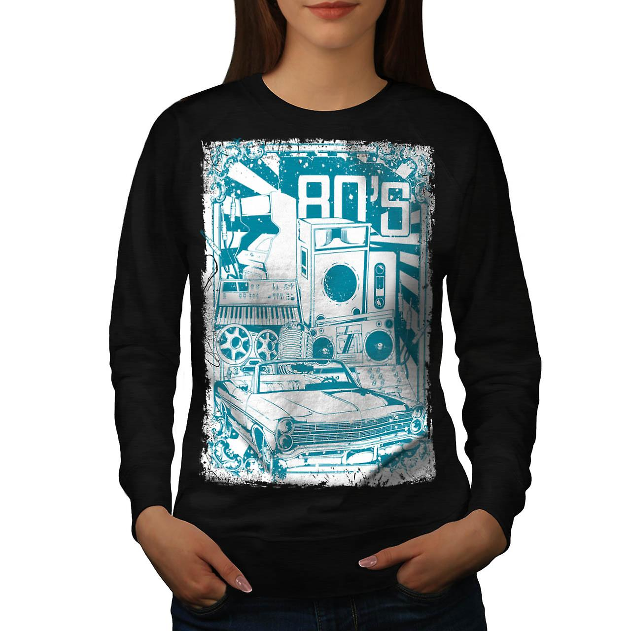 DJ 80's Theme Night Music Car Women Black Sweatshirt | Wellcoda