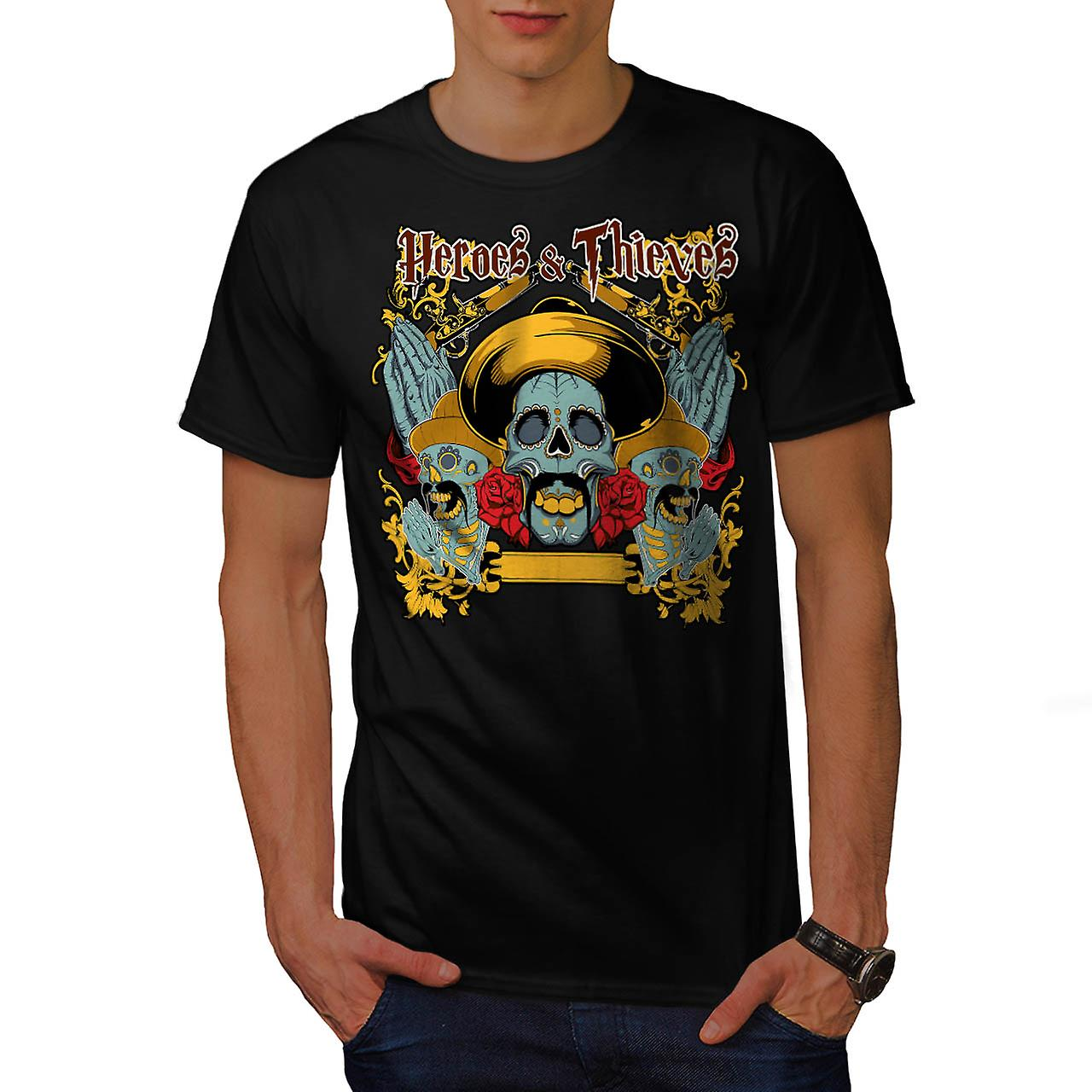 Heroes Thieves Mexico Dead Skull Men Black T-shirt | Wellcoda