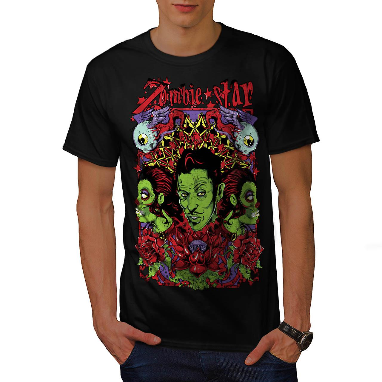 Zombie Star Group Wax Eye Angel Men Black T-shirt | Wellcoda