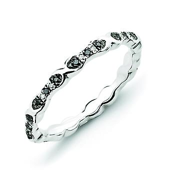 Sterling Silver Stackable Expressions Black and White Diamond Ring - Ring Size: 5 to 10
