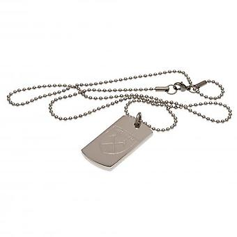 West Ham United Engraved Crest Dog Tag & Chain