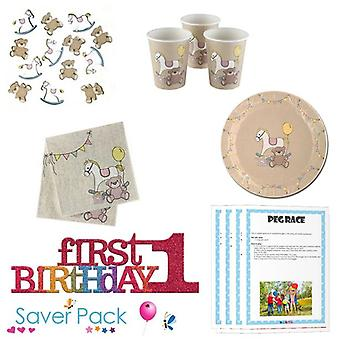 Rock A Bye 1st Birthday Party Tableware Saver Pack