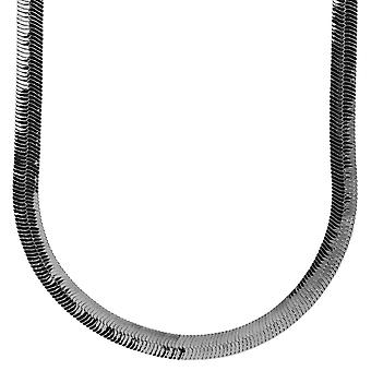 Iced out bling HERRING BONE hip hop chain, 6 mm black
