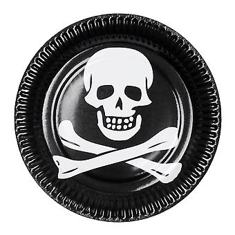 6 Pack of Halloween Pirate Skull & Cross Bone Paper Plates Party Tableware