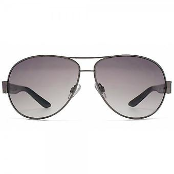 French Connection Combination Aviator Sunglasses In Shiny Gunmetal