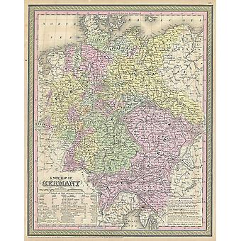 Thomas Eakins - Mitchell Map of Germany Poster Print Giclee