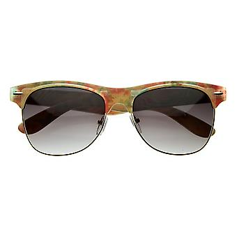 Womens Vintage-Inspired Half Frame Floral Print Sunglasses with Metal Accents